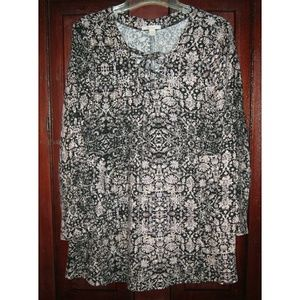 Ella Moss S Tunic Top Shirt Blouse Lace Up Floral
